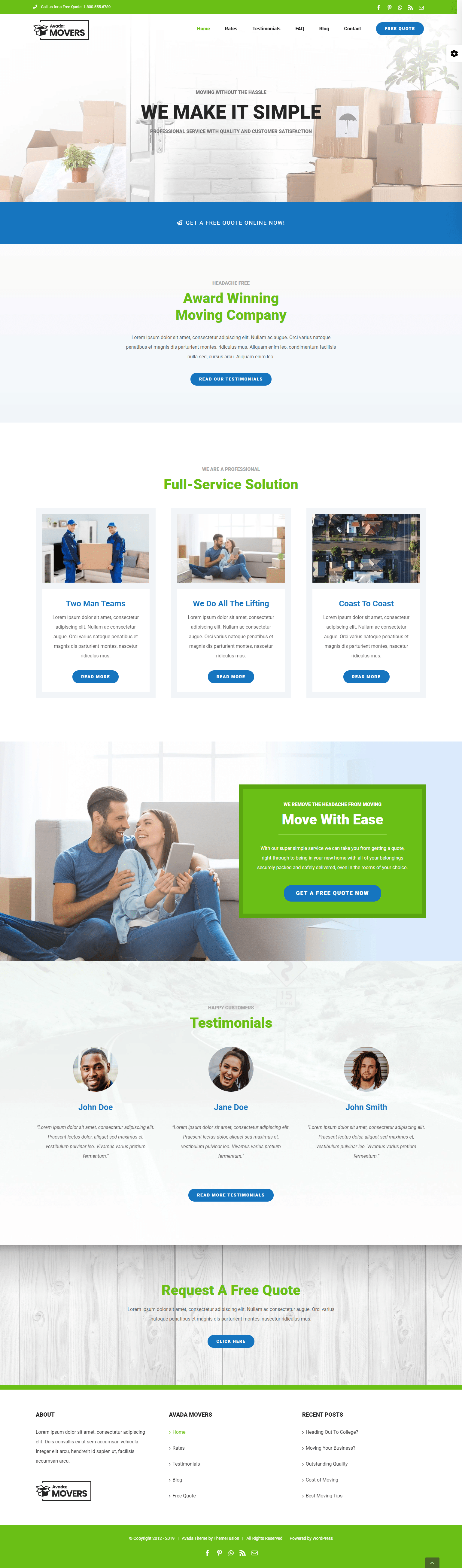 Giao diện thiết kế website Landing page Movers - Website vận chuyển Logistic